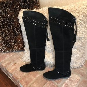 Vintage STEAMPUNK Suede Studded Over Knee Boots
